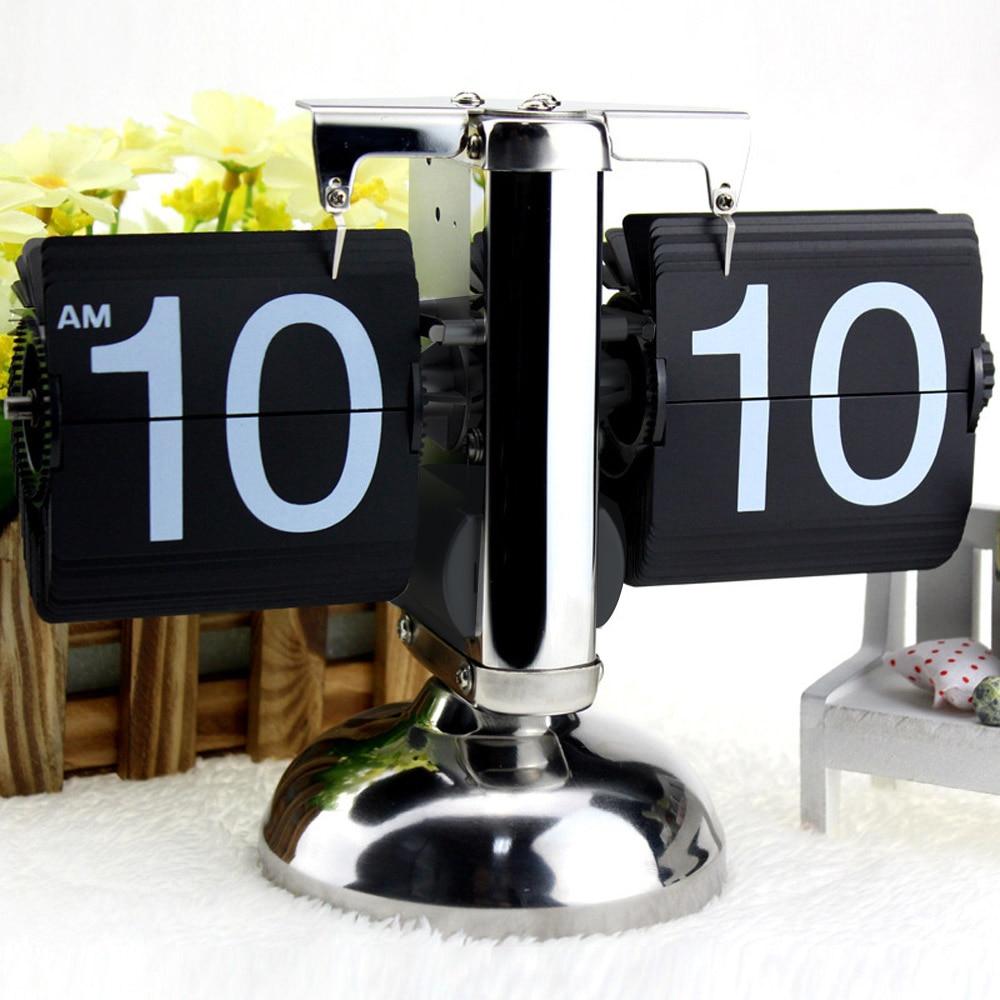 Reloj de mesa Retro con volteo sobre escala reloj de acero inoxidable reloj de cuarzo con cronómetro para decoración del hogar