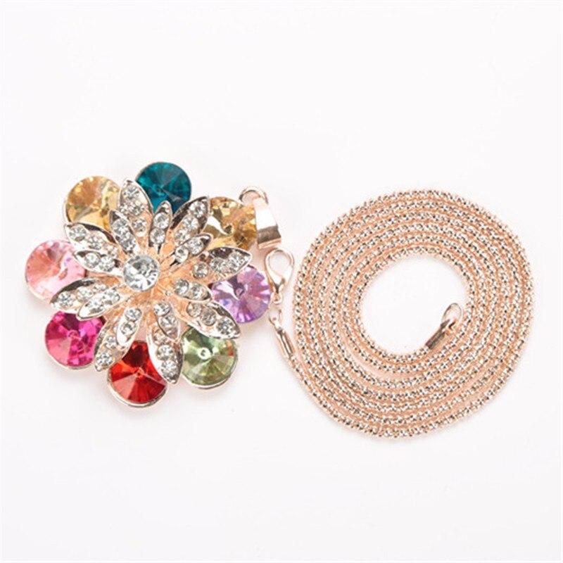 777NEW Simple flor colgante collares de invierno largo suéter cadena joyería gargantilla para mujeres gargantilla Collar de mujer