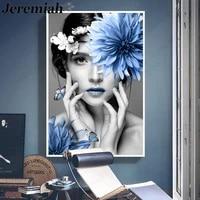 Affiche en toile de beaute a la mode  peinture creative de personnage de fleur  image dart mural imprimee  accessoires de decoration de maison moderne