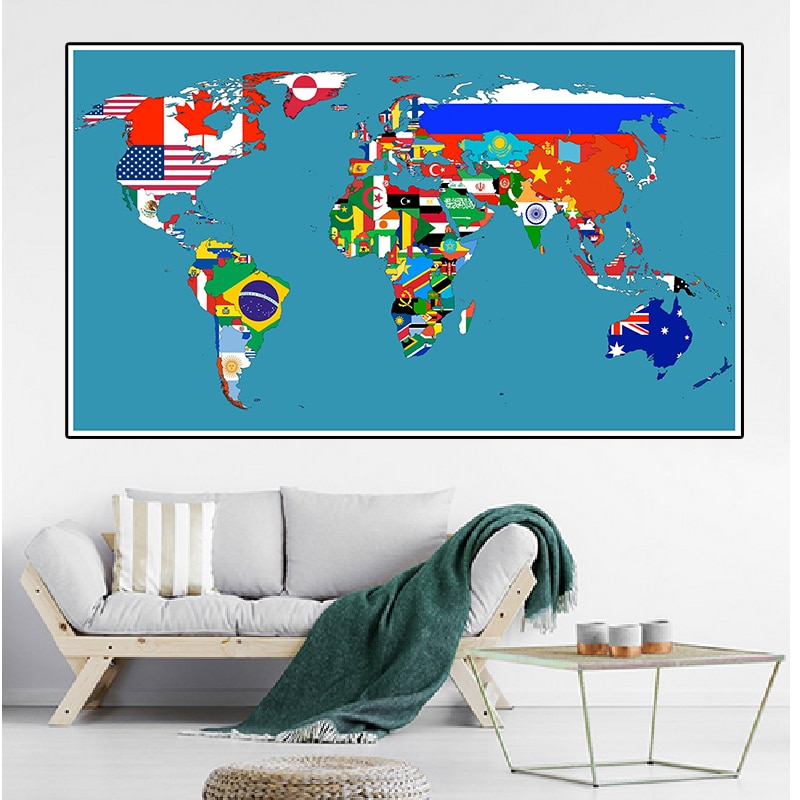 magic world map wallpaper wall stickers for kids rooms bedroom sticker painting poster home decoration accessories 150*100cm Large Size World Map Non-woven Canvas Painting Decorative Poster Wall Sticker Card Home Decoration School Supplies