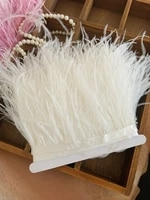 10 yards off white ostrich feather fringe trim with ribbon tape