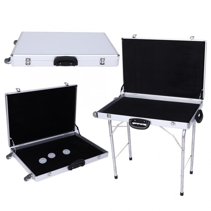 80*60*10cm de aleación de aluminio de la joyería de la maleta de la caja de exhibición de las ruedas de las manijas plegables de la caja del trípode de 70CM para organizador de joyas a