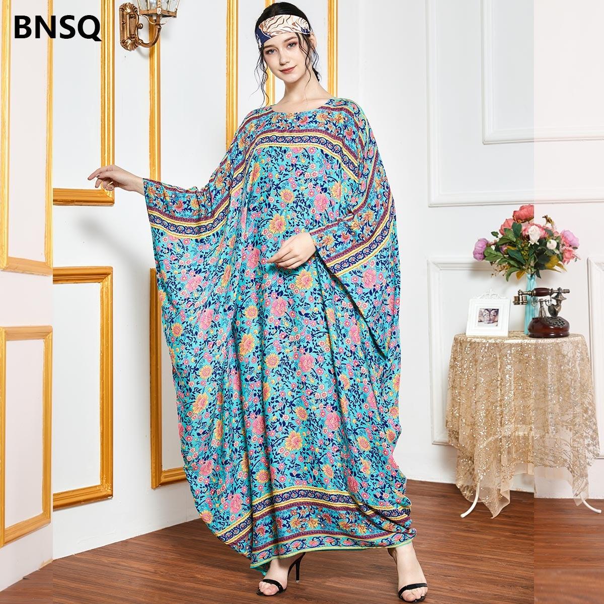 فستان حجاب دبي كبير الحجم مطبوع أنيق للنساء موضة عباية إسلامية فستان طويل تركي 2020 فيستودس نسائي 9584