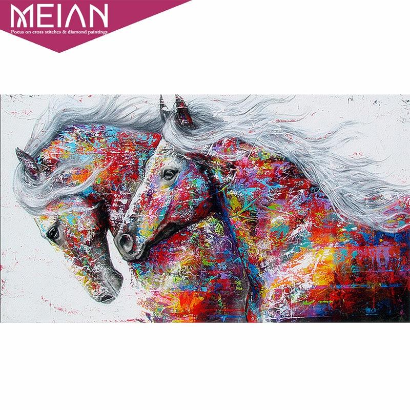 MEIAN caballo pintura de diamante Kits a mano costura 5D DIY diamante del bordado de Animal mosaico de imagen Casa decor