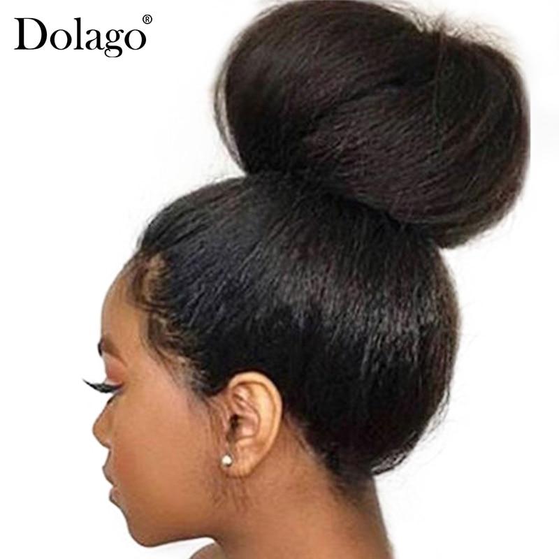 Kinky Straight Glueless Full Lace Wigs Human Hair Italian Yaki Human Hair Wigs Transparent Fake Scalp Dolago Kinky Hair Blow Out