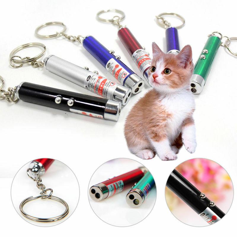 Jouet animal de compagnie drôle 1 pièce   Laser, pointeur, porte-clés avec torche, jouet de chat animal de compagnie, jouet interactif, couleur aléatoire