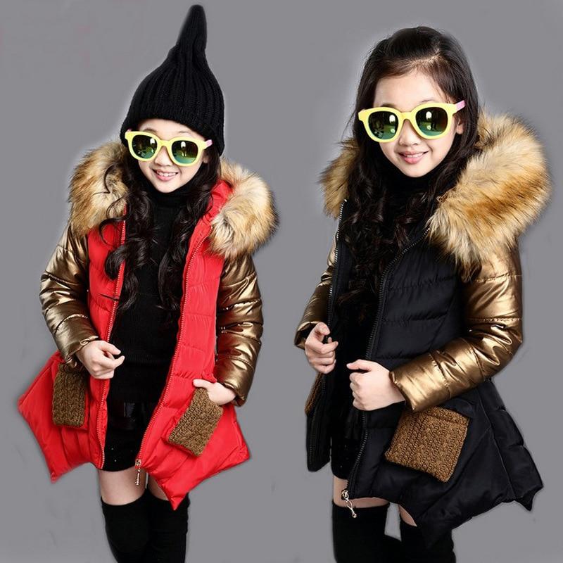 Зимнее пальто для девочек, модная детская пуховая куртка для девочек, теплое плотное пальто с меховым капюшоном для девочек, классная Одежд...