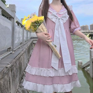Japanese College Sailor Collar  Sweet Bow Stitching Loose Waist fairy dress  tea party  lolita dress  sweet lolita doll