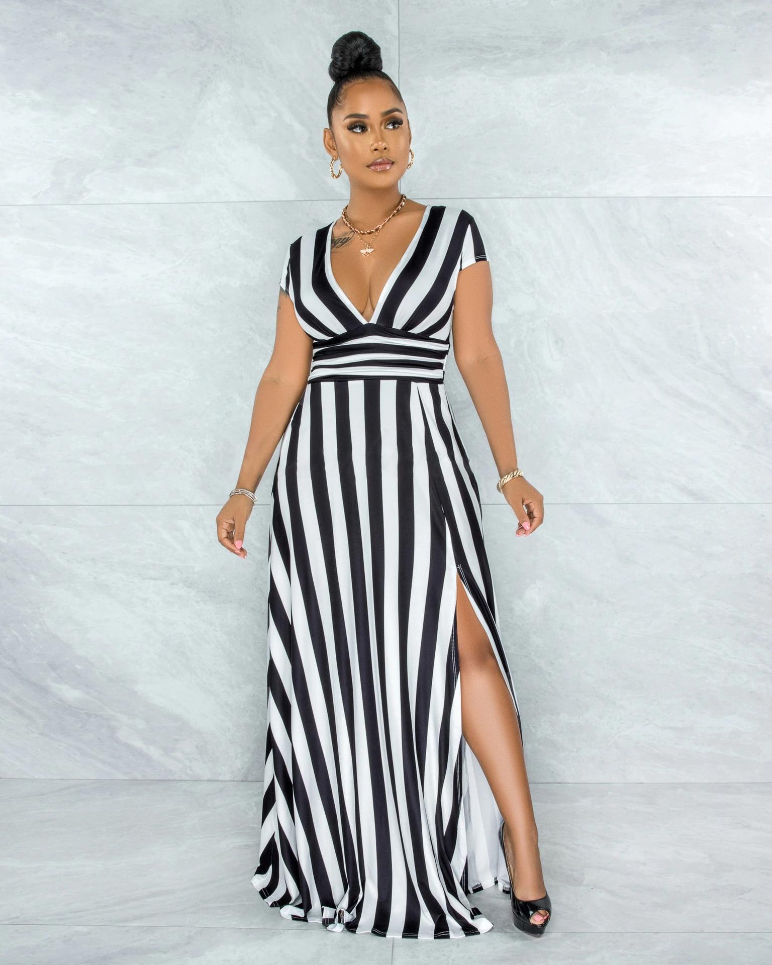 AliExpress - Women Striped Long Dress Summer Plus Size Sexy V-neck Stripe Printed Split Dress Women