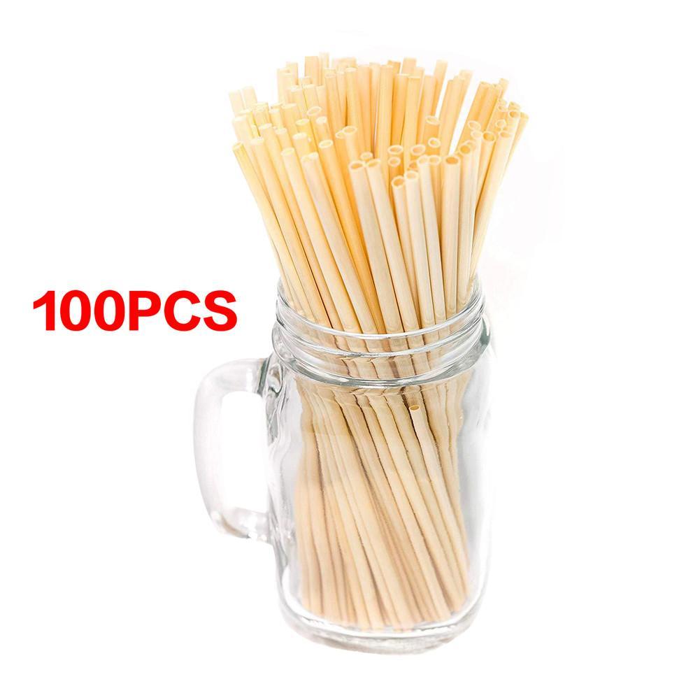 100 Uds de paja de trigo Natural pajitas Biodegradable ecológico portátil paja de beber accesorios de cocina y bar 20cm