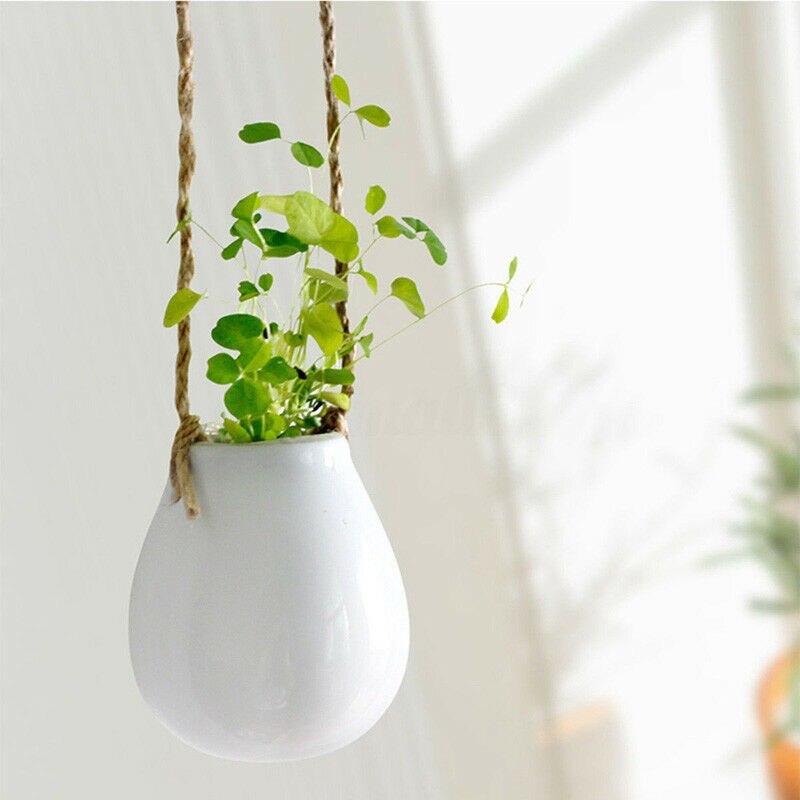 Home Garden Balcony Ceramic White Brief Hanging Planter Flower Pot Plant Vase with Twine Garden Decor
