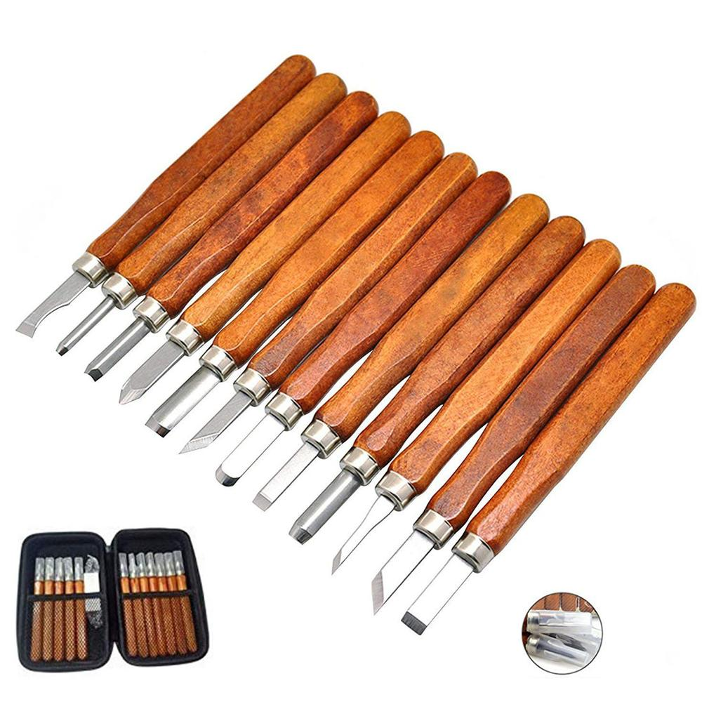 Herramientas para tallar madera DIY 12 cinceles para tallar madera Set de cera y herramientas para tallar Kit de cuchillos para jabón de calabaza de goma verduras con almacenamiento