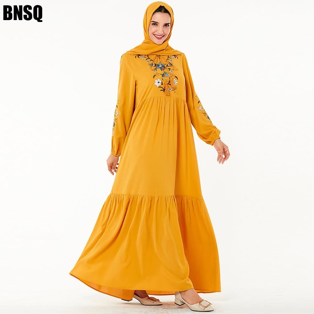 BNSQ Muslim embroidery Maxi Dress Trumpet Sleeve Abaya Long Robes Tunic Middle East Ramadan Arab Islamic Clothing India Party