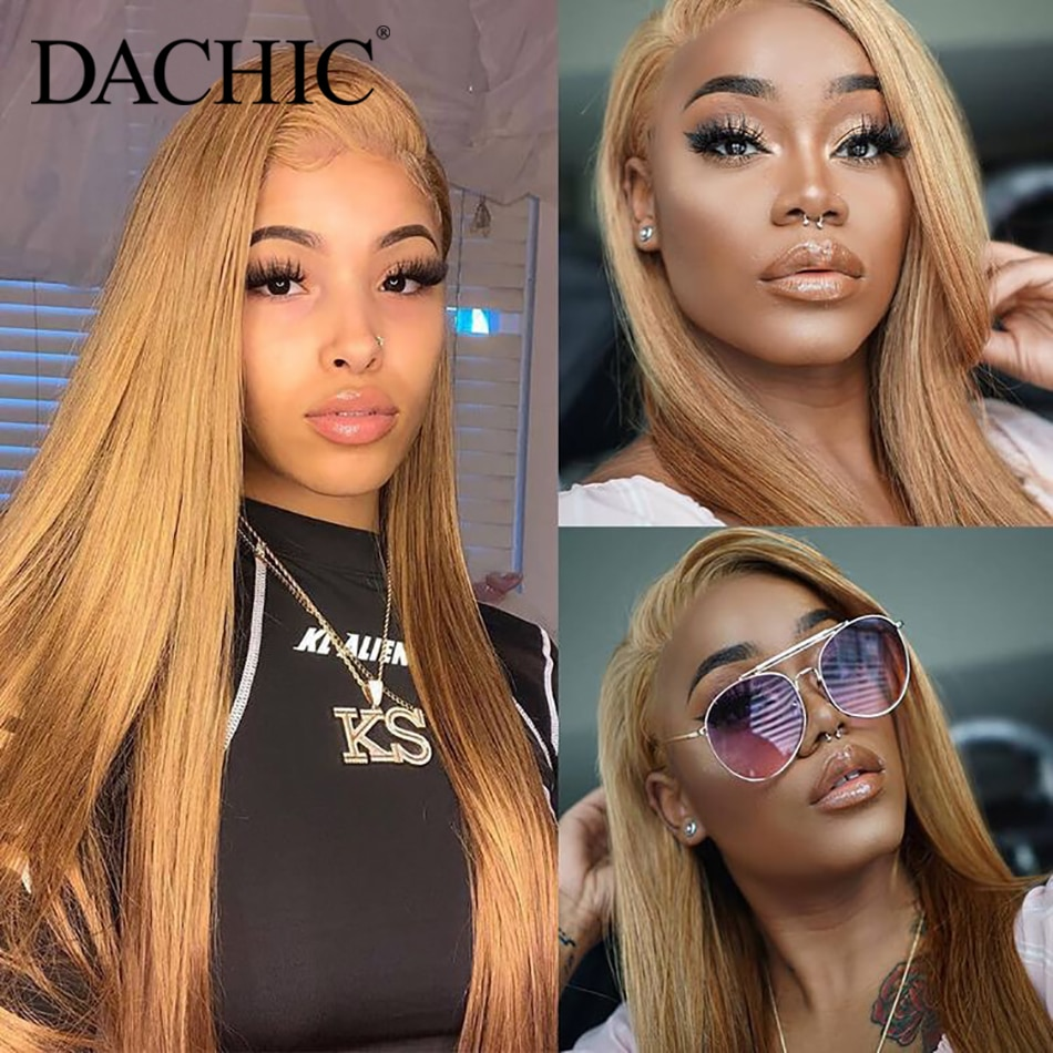 #27 30 350 99J color recto 13x4 pelucas de cabello humano frontal de encaje pre-desplumado 150% Malasia pelucas para mujeres DACHIC Hair