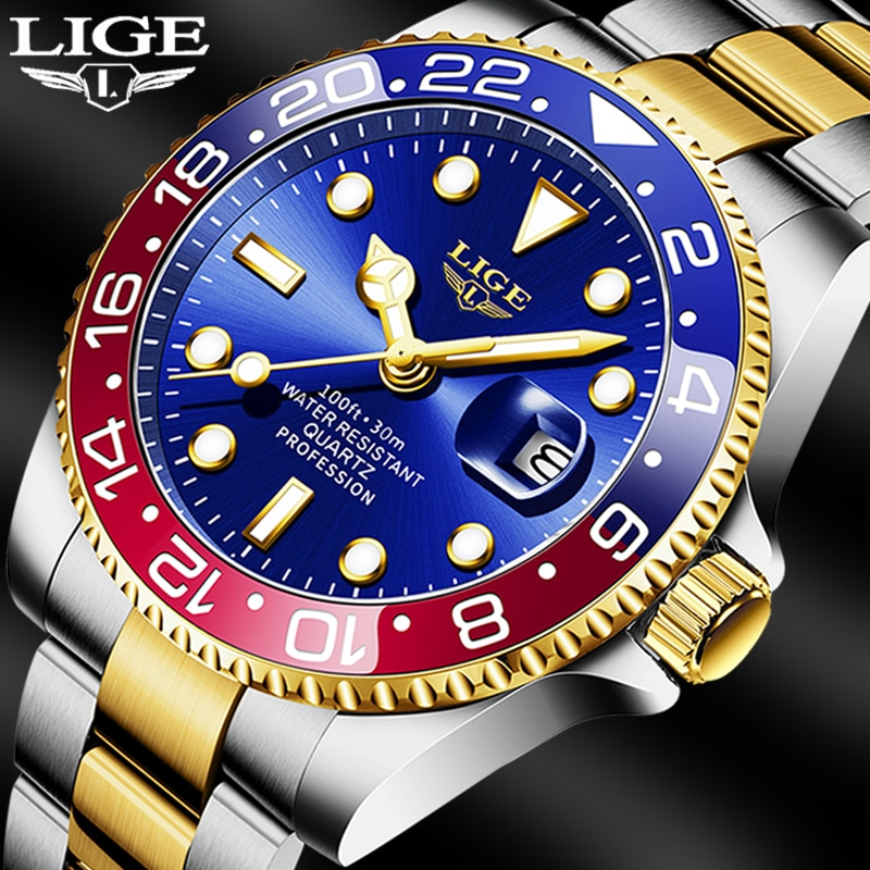LIGE-ساعة رجالية ، كرونوغراف غوص ، كرونوغراف رجالي ، كرونوغراف رياضي ، مقاومة للماء حتى 30 ضغط جوي ، كوارتز ، 2021