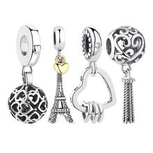 ELESHE 925 Sterling Silver EIFFEL TOWER Charm Gold Color Heart Charms Beads fit Original Pandora Bracelet Pendant Women Jewelry