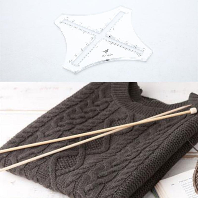 Knitting Gauge Converter Knit Counter Weaving Ruler Density Ruler For Knitting Works Crafts Sweater Knitting Tools