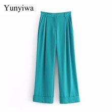 Frauen Fashion Solid Farbe Rand Roll Up Falten Gerade Hosen Chic Büro Dame Tragen Zipper Fly Beiläufige Lange Pantalon Hosen