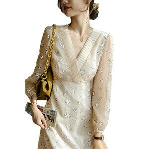 2021 New Women's Spring Autumn Retro Floral Chiffon Dress Elegant V-neck 3/4 Sleeve Female Clothing F077
