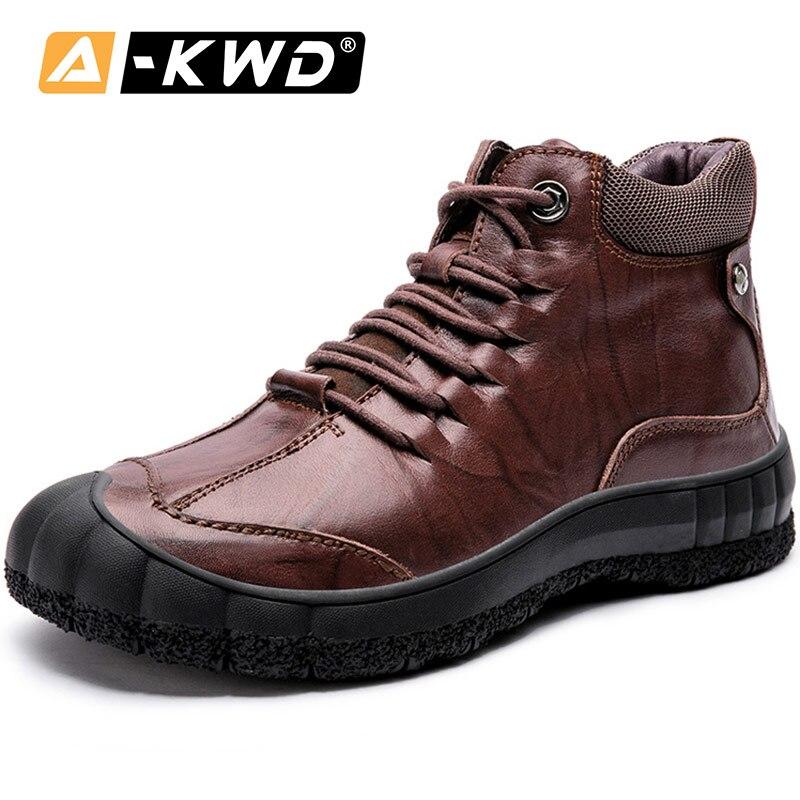 Botas de nieve de cuero genuino Werkschoenen Heren, zapatillas de invierno negras para hombres, zapatos de seguridad, botas de otoño para hombres, zapatos de herramientas de alta calidad