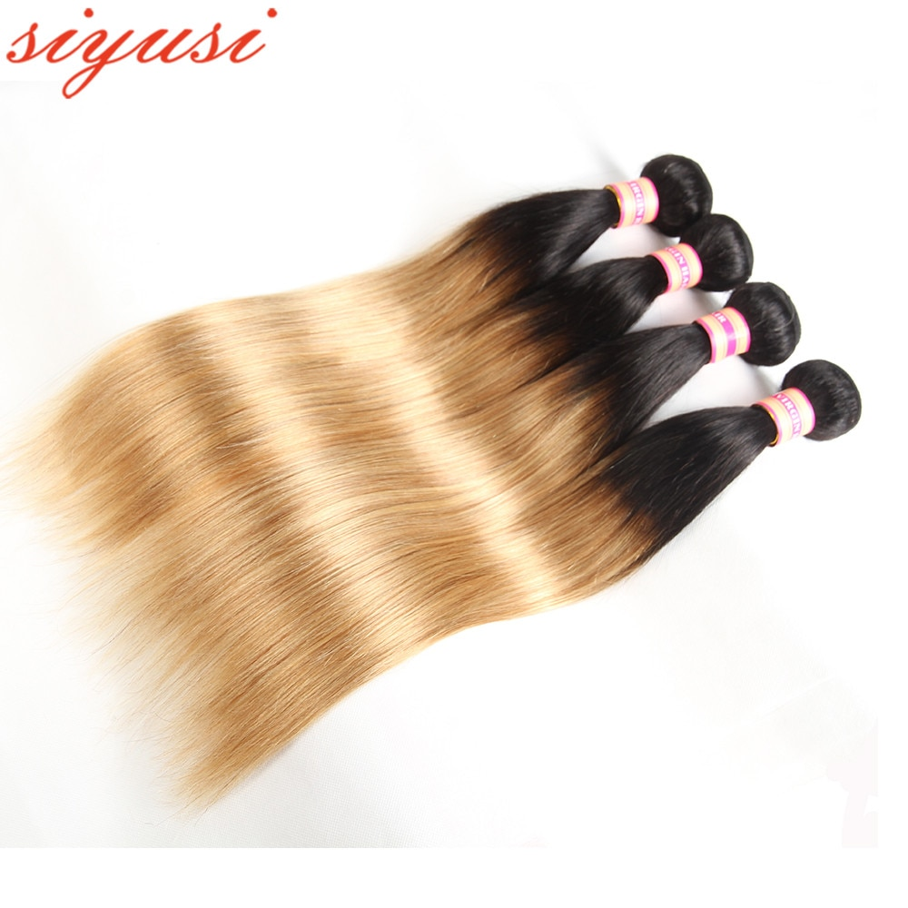 Ombre Human Hair Bundles 1B/30 1b/27# Straight Brazilian Remy Weave Colored Brown Extensions
