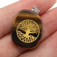 new natural stone pendant metal alloy seven chakra reiki healing pendant for making diy necklace accessories size 20x30mm