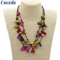 unexda color long necklaces handmade irregular wooden beaded rope chain necklace ladies bohemian statement layered choker