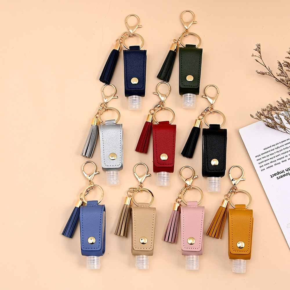 30ml Empty Portable Hand Sanitizer Bottle Keychain Holder Reusable Bottle Hand Washing gel Storage B