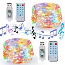 USB sonido activado LED música cadena luz Control remoto 5M 10M alambre de cobre Fariy Garland luz para boda Navidad vacaciones