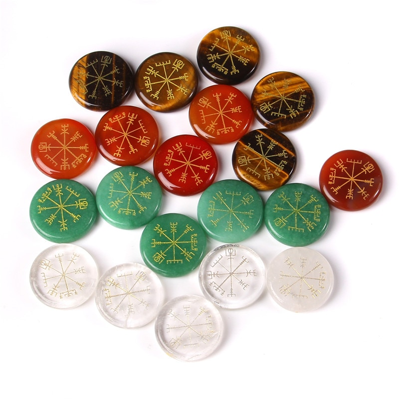 5 pcs 30 mm Polished Reiki Round Slice Natural Tige Eye Stone Beads Entertainment Engaved Symbols Divination Toys For Friendship
