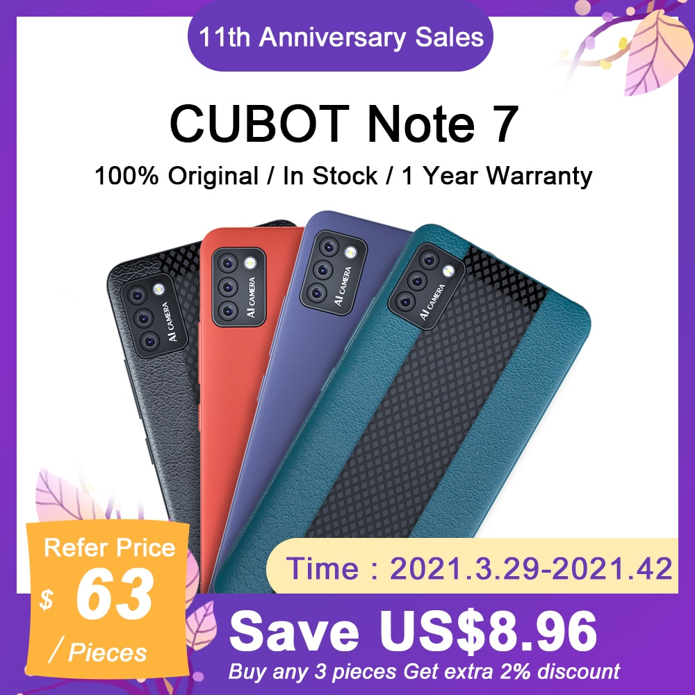 5.5'' CUBOT Note7 Smartphone Android 10.0 Pie 13MP Rear Triple Camera Dual SIM Card Cellphones 3100mAh Small Smart Mobile Phone