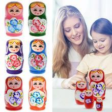 5 teile/satz Holz Matryoshka Puppen Farbige Holz Russische Puppe Holz Russian Nesting Babuschka Matryoshka Hand Malen Baby Spielzeug Puppen
