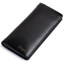 Nouveaux hommes portefeuilles en cuir véritable Long sac à main homme en cuir souple pochette dargent sac daffaires mâle porte-carte loisirs téléphone portefeuille