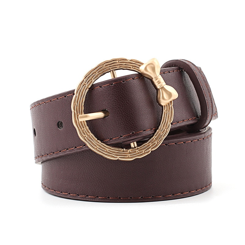 Leisure Women PU Belt New Design Hot Pin Buckle Waistband Bowknot Vintage Gold Round Button Belts For Women Dress Jeans Decorate vintage bowknot button embellished plaid dress