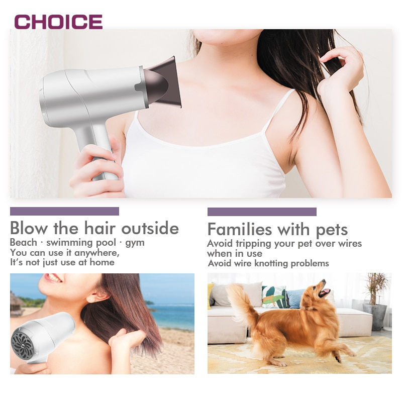 NEW Wireless Cordless Hair Dryer HOT/COOL Air USB Rechargeable Portable Use Outside Professional enlarge