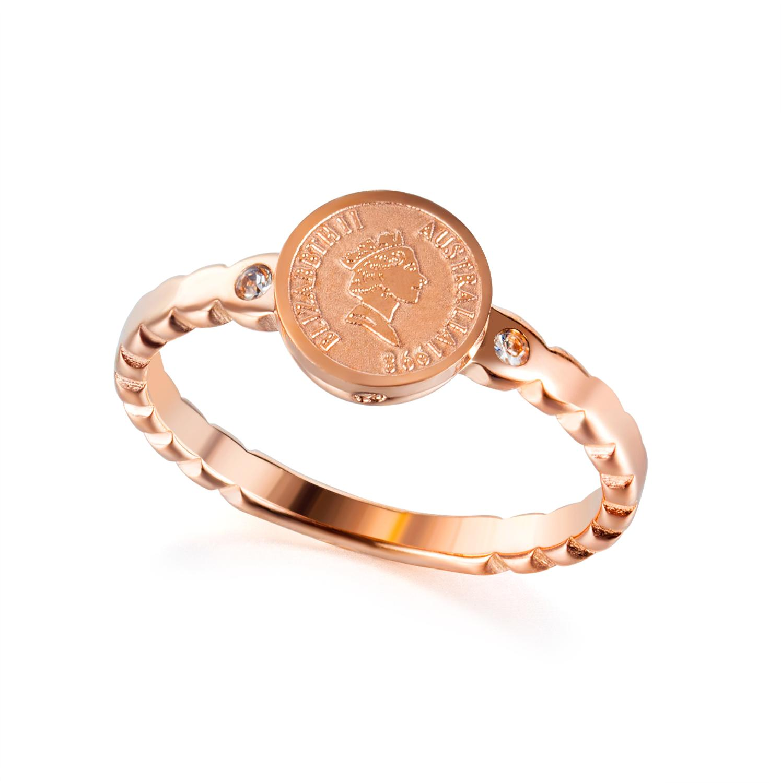 2020 moda zircon rainha moeda anéis para as mulheres do vintage kpop aço inoxidável rosa ouro dedo jóias acessórios anel de namoro