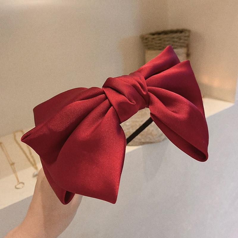 Beautiful Red New Big Bow Bezel Headwear Women Headband Girls Vintage Bow Hair Bands Wide Hairband Hoop For Hair Accessories
