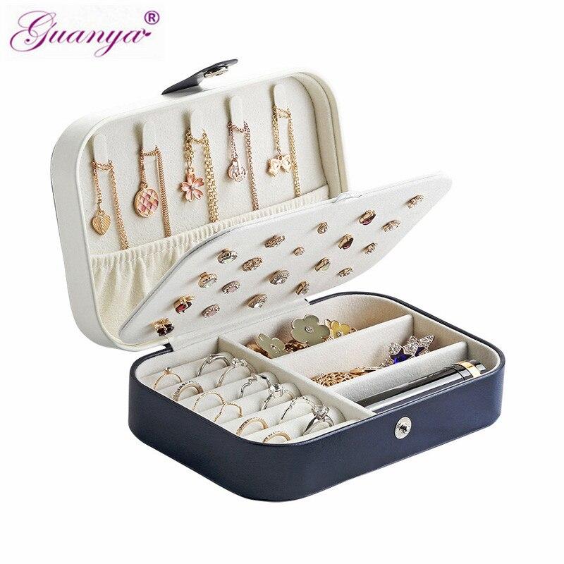 Caja de almacenamiento multifunción de joyería de cuero de Guanya soporte portátil de viaje pendiente collar Simple chica joyería caja organizadora