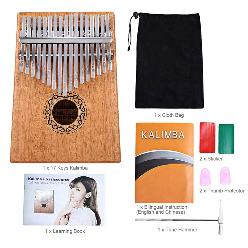 17 Keys Kalimba Thumb Piano Finger Piano Musical Toys With Tune-Hammer And Music Book enlarge