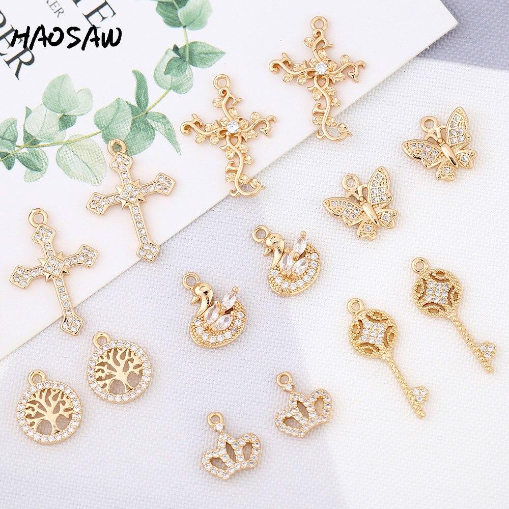 HAOSAW choisir 6 pièces/lot fait à la main/pierres CZ/papillon/clé/conception de couronne/boucles doreilles breloques/résultats de boucles doreilles/fabrication de bricolage