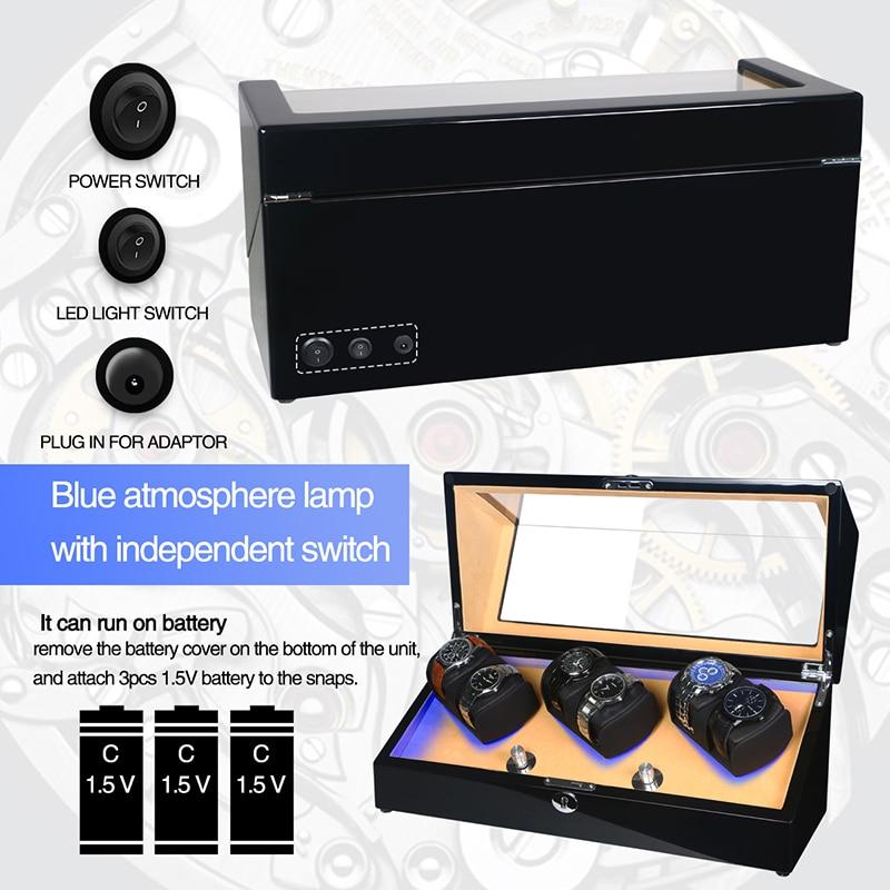 Watch Winder Shaker Box Case Storage Display Automatic Wooden Three Motors 6 Slots Watch Winder Rotation Organizer Holder Piano enlarge