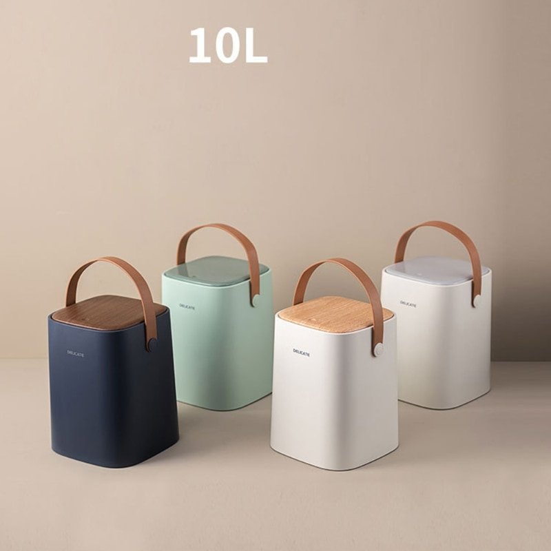 Y8AB 10L Dry Wet Sorting Trash Can with Press Type Lid and Faux Leather Handle Waste Basket Rubbish Bin Garbage Bucket enlarge