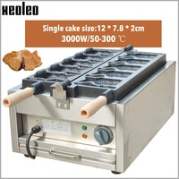 XEOLEO Taiyaki machine Open mouth Fish waffle maker Ice cream Taiyaki maker 5 pcs Fish cake baking oven Non-stick pan 3000W