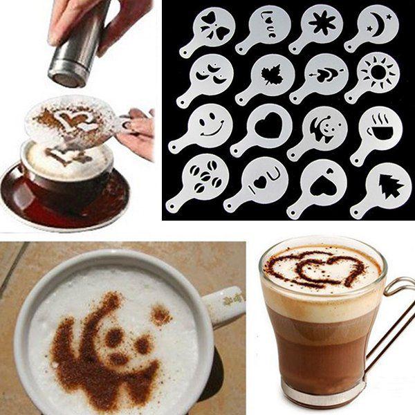 Plantilla de café de Arte de cappiccino de plástico, 16 Uds., plantilla creativa de chocolate de azúcar de barista, decoración de café, utensilios de cocina
