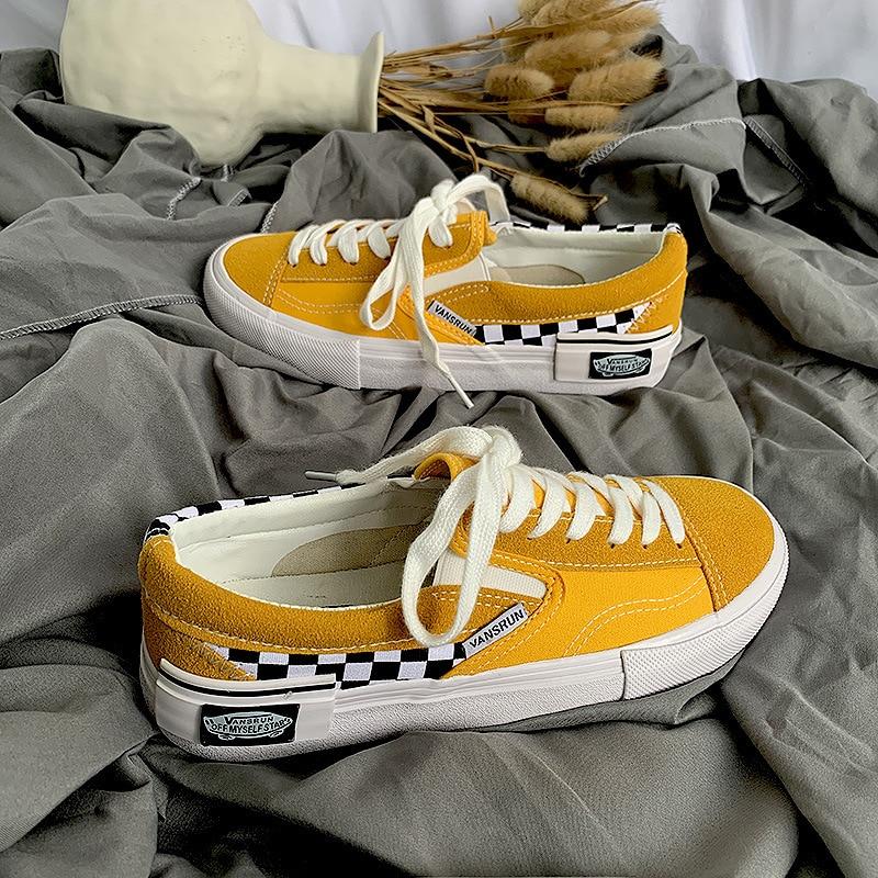 2020 nova womens amarelo tênis baixo topo old skools clássicos sapatos de lona vulcanizada sk8 sk8 sapatos de skate marca lateral