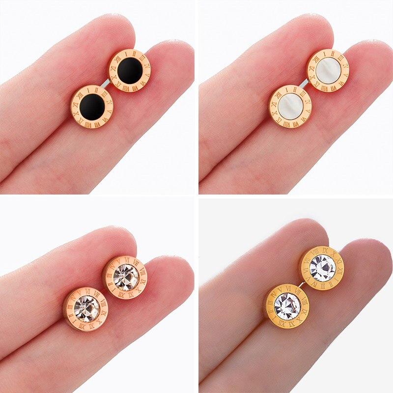Conjunto de pendientes de perlas para mujer, joyería bohemia de moda 2020, pendientes geométricos con números romanos de cristal y corazón, pendientes con pasador