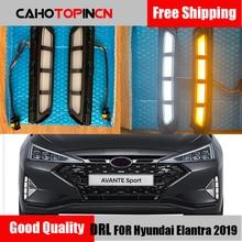DRL для hyundai Elantra 2019 2020 AVANTE светодиодный дневные ходовые огни Дневные Противотуманные фары с желтым поворотным сигналом стиль реле