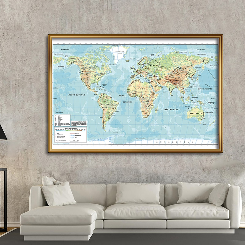 225*150cm The Turkish Language World Orographic Map Non-woven Canvas Painting Vintage Poster Home Decoration School Supplies