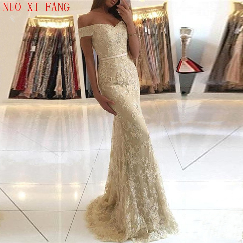 Фото - Длинное платье с открытыми плечами NUOXIFANG, вечернее платье-русалка, 2020, кружевное платье с аппликацией, длинное вечернее платье lemaire длинное платье