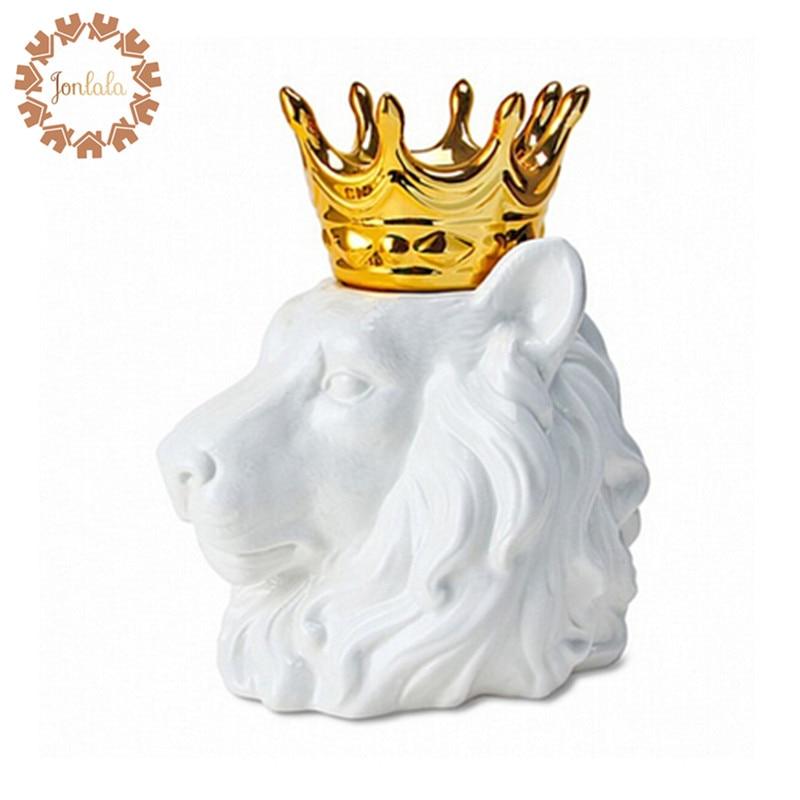 Top Art Crown cabeza de Animal León zorro oso escritorio Almacenamiento de joyería caja de almacenamiento de dulces joyería decoración soportes mejor regalo